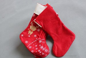 Decorations snowflake deer Christmas stocking gift bag candy apple bags wrap long stockings red Festive Party Supplies OWE2801