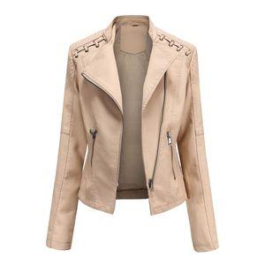 Womens pu jaqueta moda fina fit caças de couro casacos slim slim curto motociclista casaco outono primavera de manga longa jaqueta