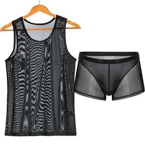 Mens Undershirts Sets Mesh Breathable Underwear Sexy Transparent Sleeveless Tank Tops Boxer Shorts Elastic Sleepwear Nightwear