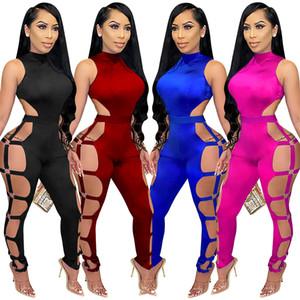 Mode Sexy Femmes Combinaisons Sans Manches Party Club Hollow Out Bandage Bandage Body Skinny Romper Romper Rompers Jumpsuit Qualité