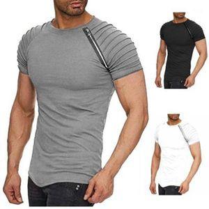 2020 летняя новая футболка мужская хлопчатобумажная сплошная простая угля с коротким рукавом Tees полосатые складки стройная мода повседневная футболка времена ограничена1