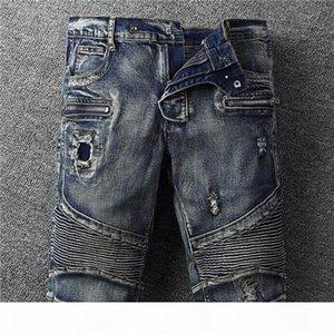 20ss Summer Classic Mens Holes Denim Shorts Fashion Man Denim Jeans Slim Straight Designer Pants Rap Street Trend Mens Stylist Pants