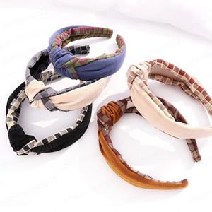 Plaid Tessuto Splicing Knot Hairband Headband Headband per donna Ragazze Accessori per capelli
