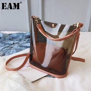 [EAM] Frauen Neue Trend Composite Bag Eimer Transparente Persönlichkeit Allgleichs Crossbody Umhängetasche Mode TIDE 2021 18A1138