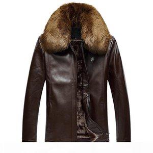 Men's PU leather jacket, winter lapel thick large size warm jacket, men's fur collar plus velvet leather jacket
