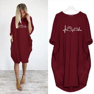 Oversized Dress Women Summer Long Sleeve Hope Love Floral Printed Loose Dress Casual Pocket Knee Length Streetwear Vestidos