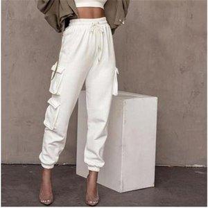 여성용 바지 카프리스 가을 여성 멀티 포켓 하이 허리 바지 느슨한 캐주얼 스웨트 팬츠 엉덩이 펑크 하라주쿠 streetwear 여성 솔리드