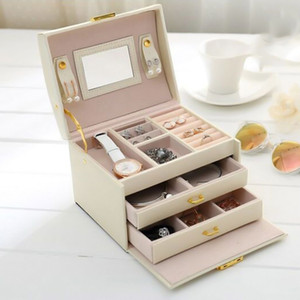 PU Leather Women Jewelry Box For Earrings Rings Three-layer Drawer Makeup Organizer Storage Travel Portable Jewelry Storage Boxe Y200628