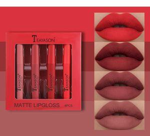 TEAYASON Velvet Matte Lipstick Set Lip Gloss Lip Glaze Pumpkin Color Matte Non-stick Cup Non-fading Lipstick
