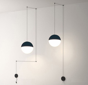 Bedside Modern Pendant Lamp LED Wire Suspension Lights Chandelier Loft Decor Kitchen Island Glass Ball Lamps with Hangers