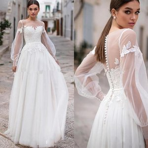 New Bohomian A Line Wedding Dresses Sheer Jewel Neck Appliques Lace Illusion Poet Long Sleeves Tulle vestido Boho Formal Bride Dress