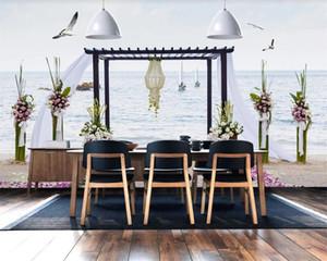 Custom 3d Seascape Wallpaper Seaside Wedding Landscape TV Background Wall Romantic Landscape 3d Mural Wallpaper