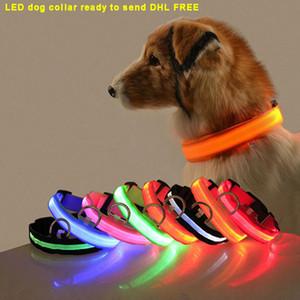 Nylon LED Hundehalsband Nacht Sicherheitslicht blinkend Glühen im dunklen kleinen Hund Haustierleine Welpe Halsband blinken Sicherheit Designer Hundehalsband