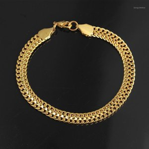 Gold Silver Color Chain Bracelet Men Women Fashion Jewelry Gift Hand Link Bracelet Curb wrist For Mens Birthday Present1