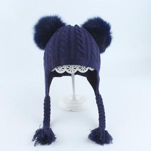 Girl chapeau hiver oreiller deux vrais renards pompon angora angora tricot beanie automne accessoire extérieure