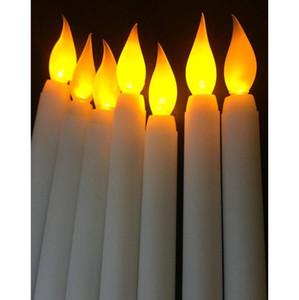 홈 LED 11 인치 LED 배터리 작동 Flickering Flameless Ivory Taper 촛불 램프 스틱 촛불 웨딩 테이블 룸 Chur Jllltt Sinabag