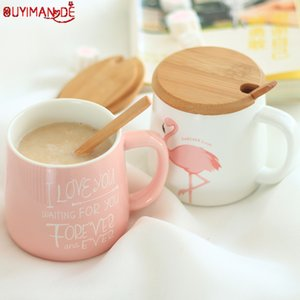 350ml Cute Pink Flamingo Ceramic Coffee Mug with Lid and Spoon Coffee Milk Tea Water Cups Creative Gifts T200506