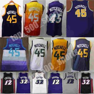 2021 Yeni Donovan Mitchell John Karl 12 Stockton City 32 Malone Basketbol Jersey Basketbol Beyaz Mor Siyah Renk Forması