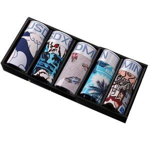 5pcs Lot Soft Men Underwear Boxer Breathable Shorts Mens Ice Silk U Convex Sexy Male Men'S Underpants Cueca Boxer Homme X1116