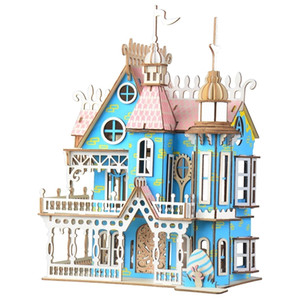 Laser Cutting DIY Assembled Building Model Fantasy Villa 3D Wooden Doll House Furniture For Children Girls Birthday Gifts Y200413