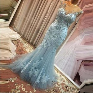 Exclusive Applique Lace Beaded Mermaid Evening Dresses Sheer Neck Plus Size Arabic Evening Party Gowns Robe De Soiree