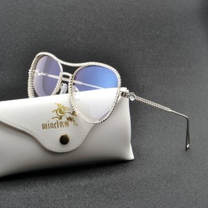 Mincl / de luxe diamant métal nuances lunettes féminin de marque unique lunettes de soleil lunettes de mode de style de mode de mode clair fml j1211