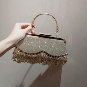 New Evening Tassel Sequin Handbag Exquisite Fashion Nightclub Ladies Messenger Banquet Dress Small Bag Q1204