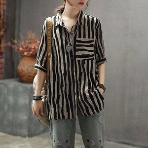 F&je New Arrival Women Shirts Plus Size Summer Vintage Striped Linen Blouse Turn-down Collar Female Loose Casual Ladies Tops D2 A1112