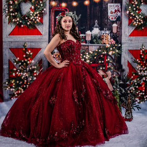 Vestidos De 15 Años Red Sequined Quinceanera Dresses Lace Applique Sweet 16 Dress Off the Shoulder Mexican Prom Gowns 2021