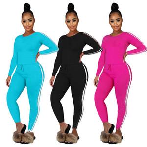 Женщины S-2XL с длинным рукавом 2 частей набор спортивных костюмов пуловер толстовки брюки дизайнерский трексуит Летняя повседневная одежда одежда Capris 3451