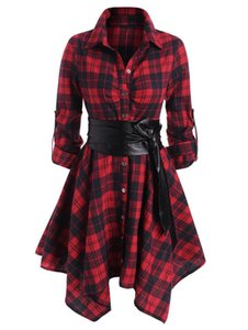 Wipalo Gothic Casual Women Plaid Belted Roll Tab Handkerchief Vestidos Autumn Long Sleeve A-Line Party Dress