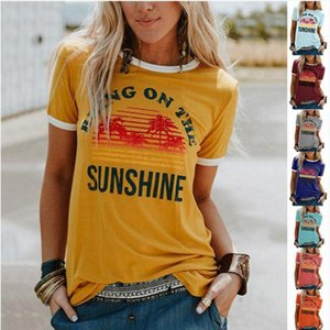 Summer New Casual O Neck T shirt Women Bring On The Sunshine Printed Short Sleeve Tops Tee Plus Size Harajuku Female t