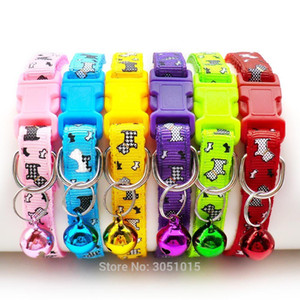 24 pcs lot Puppy Pet Dog Collar Small Cat Pet Buckle Adjustable With Bell Buckle Neck Strap Animal For kitten Pet Accessories Z1127