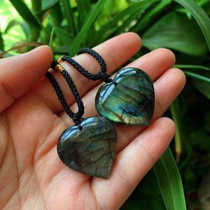 Ретро сердце камень лабрадорит ожерелье Healing Энергия Кристалл Природный серый Moonstone Минеральные кварц ожерелье Женщины Lover
