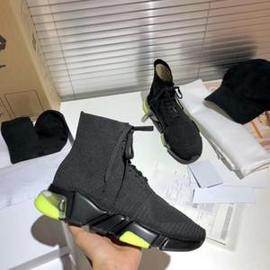 Yeni Tasarımcı Sneakers Temizle Tek Eğitmenler Siyah Yeşil Üçlü Moda Streç Örgü Çorap Botları Eğitmen Runner Ayakkabı 34 Renkler