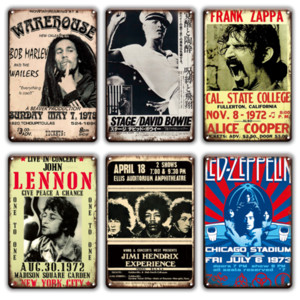 2021 Rock N Roll Müzik Metal Poster Duvar Tabelası Vintage Kapılar Öpücük Kraliçe Band Sticket Chic Adam Mağarası Oturma Odası Ev Metal Pub Duvar Dekor