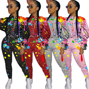 Women tracksuit luxurys designer clothing bandage hoodies pants fall winter casual 2 piece set outfits 2XL long sleeve pullover capris 4024