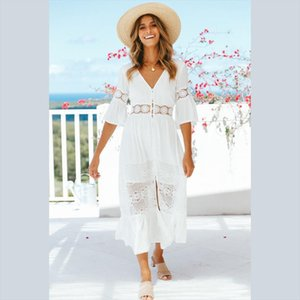 Bohemian Sexy White Low Cut Lace Patchwork Dress Women Flare Sleeve Elegant Beach style Ruffles Midi Dress Summer 2020 New