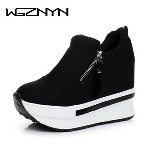WGZNYN 2020 Frauen Casual Schuhe Marke Frühling Atmungsaktive Mesh-Frau-Plattformschuhe Höhe erhöhen Zapatillas Mujer 0309 C1120