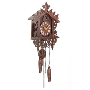 Retro Style Wooden Cuckoo Wall Clock Art Wall Mounted Cuckoo Clock Roman Numeral Handcraft Vintage Home Decor