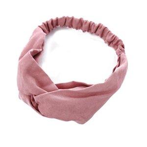 Frauen Frühling Wildleder Stirnband Vintage Kreuz Knoten Elastische Haarbänder Massive Rosa Rot Schwarz Mädchen Haarband Für Frauen Haarschmuck Q BBYKNS