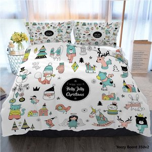 3pcs Bedding Cotton Set Super King Duvet Cover Set Christmas Hand Drawn Cute Doodles Stickers Illustrations Bed Cover With Pillowcase