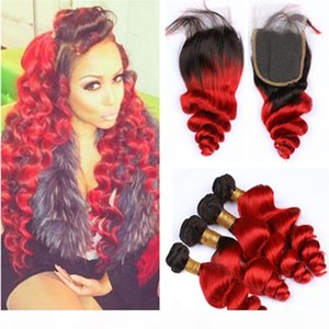 Bright Red Ombre Loose Wave Brazilian Human Hair 4Bundles with Top Closure #1B Red Ombre Loose Wavy Weave Wefts with 4x4 Lace Closure