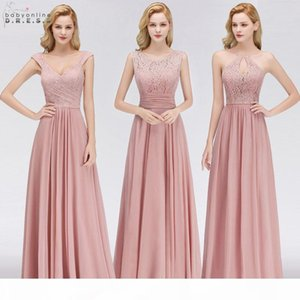 Vestido Madrinha Pink Lace Long Bridesmaid Dresses Sexy A Line Chiffon Dress For Wedding Party Robe Demoiselle D'honneur C19041901