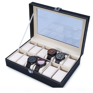 Оптовая 2016 Новая Новая Мода 12 GIDs Кожаные Часы Коробка Ювелирные Изделия Обсылки Часы Чехол Ювелирные Изделия Хранение Организовано Cajas Para Relojes