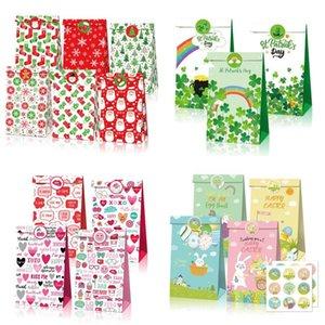 Kraft Paper Saint Valentine Sac cadeau 150g Eco-respectueux du papier Noël Nouvel An Saint Valentin Pâques Jour Candy Cadeau Cadeau Sac EWA3011