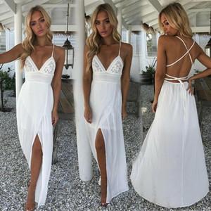 Hot Women Summer Boho Long Maxi Dress Evening Party Backless Halter V Neck Maxi Beach Bohemia Dresses Sundress Beach Sundress