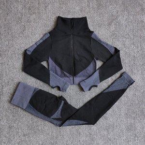 Warnung Nahtlose Yoga Sets Frauen Fitness Gym Kleidung Langarm Hemden Hohe Taille Lauf Leggings Workout Hosen Sportanzüge Y1123