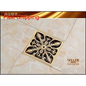 Antique laiton carré Drain de 4 pouces Bronze sculpté Bronze fini Désodorant Core Core Accessoires de salle de bains D090 BA JLLEUV INSYARD