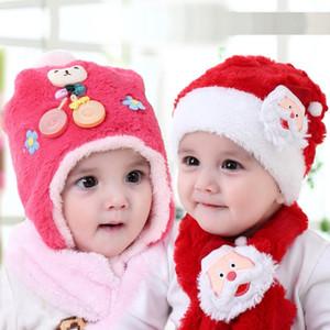 5style Christmas hats scarf set plush Santa Claus cap Christmas decoration boys girls cute hat scarves suit earmuffs 50pcs